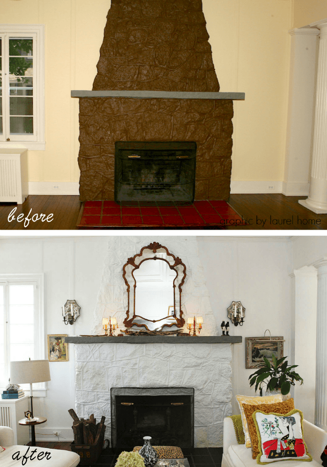 gorilla dung ugly stone fireplace before and after