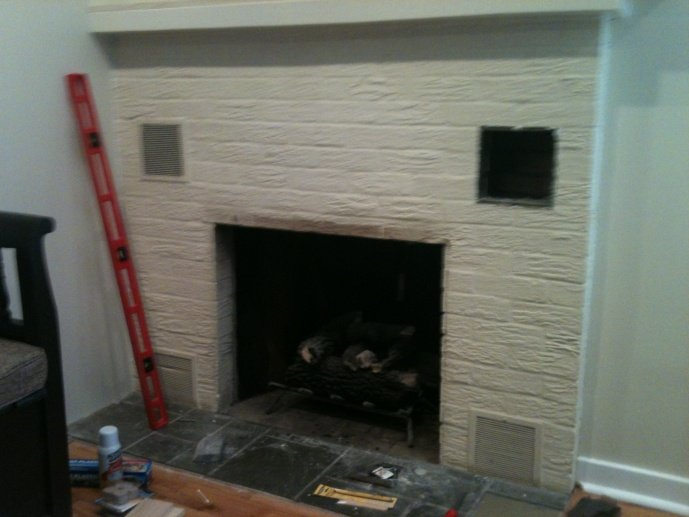 d tile wood over painted brick fireplace fireplace