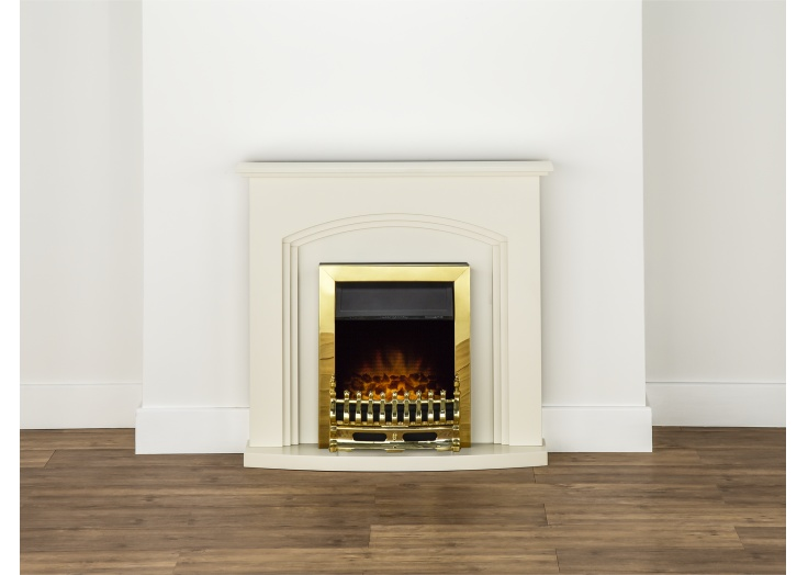 adam truro fireplace suite in cream with blenheim electric fire in brass 41 inch