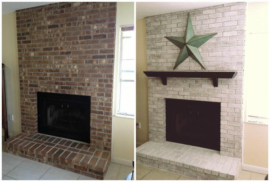 How to Whitewash A Fireplace Awesome Whitewash Brick Fireplace before and after …