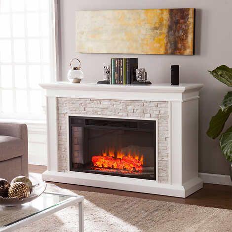 Infrared Corner Fireplace Luxury Ledgestone Mantel Led Electric Fireplace White