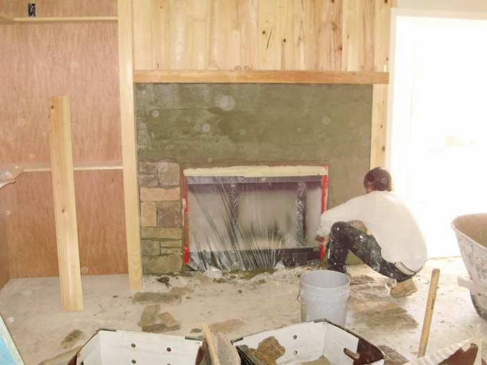 how to install stacked stone fireplace
