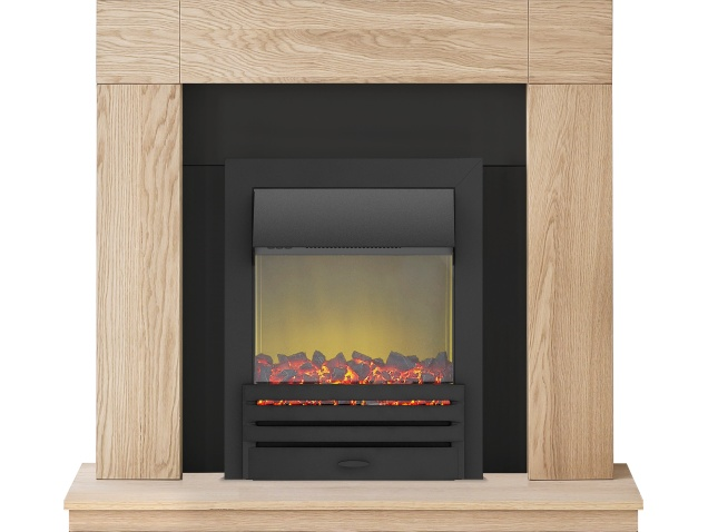 adam malmo fireplace suite in oak with eclipse electric fire in black 39 inch
