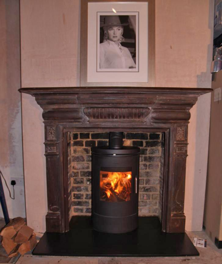 Log Fireplace Awesome original Victorian Cast Iron Surround with Slate Hearth