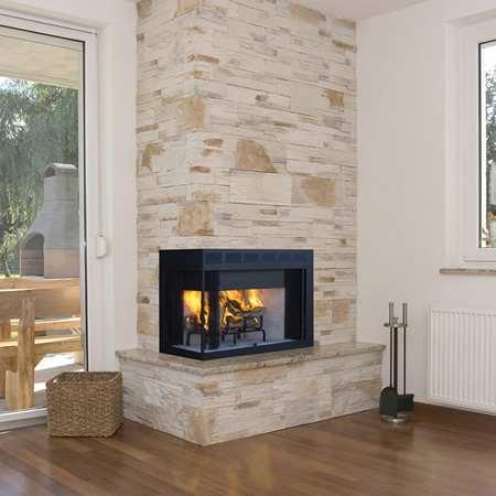 corner wood burning fireplace