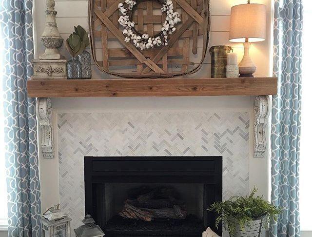 Mantle Fireplace Awesome Remodeled Fireplace Shiplap Wood Mantle Herringbone Tile