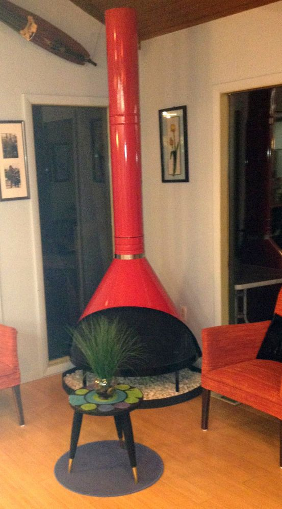 Mcm Fireplace Awesome Mid Century Modern Cherry Red Preway Retro Cone Freestanding