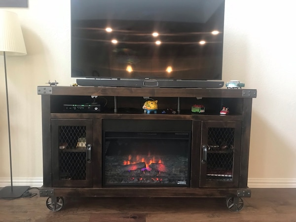 Media Console with Fireplace Luxury Rustic Tv Stand and Electric Fireplace