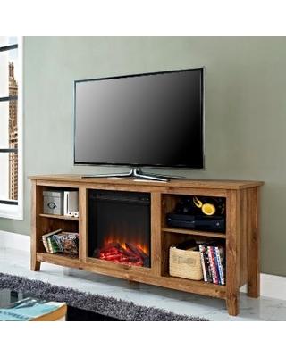 58 barnwood tv stand w fireplace insert walker edison w58fp18bw