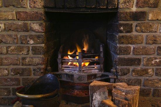 open lit fire