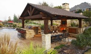 10 Elegant Outdoor Kitchen and Fireplace