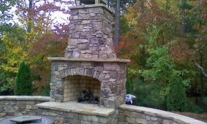 26 Lovely Outdoor Stone Fireplace Ideas