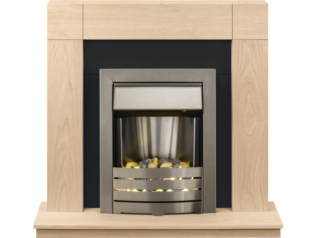 adam malmo fireplace suite in oak with helios electric fire in brushed steel 39 inch