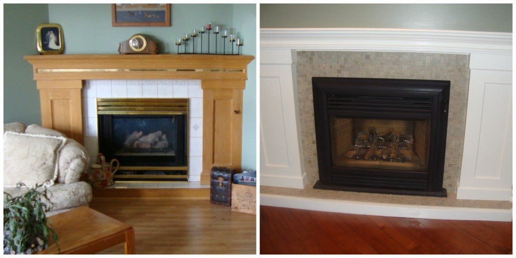 fireplace update ideas with Stoneskin tile and painting the brass 1024x512