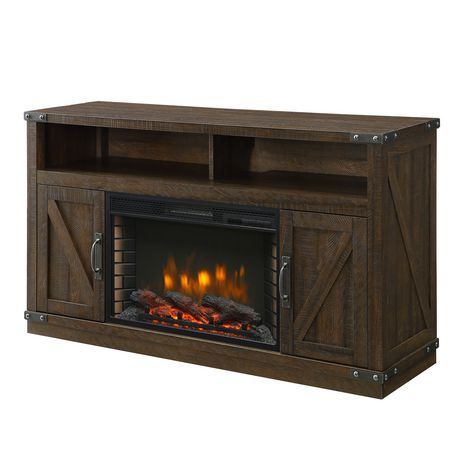 "Rustic Electric Fireplace Entertainment Center Luxury Muskoka Aberfoyle 53"" Media Electric Fireplace Rustic Brown Finish"