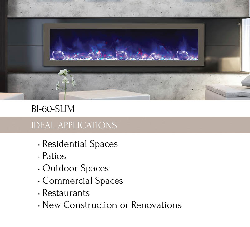 Shallow Depth Gas Fireplace Lovely Bi 60 Slim Electric Fireplace Indoor Outdoor Amantii
