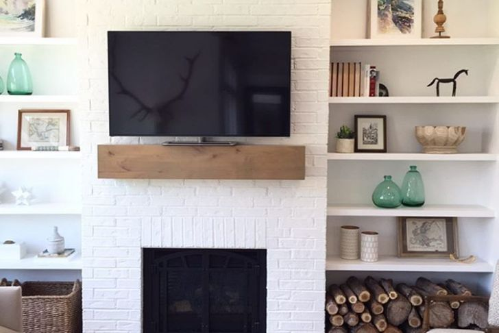 Shelves Next to Fireplace Unique I Love This Super Simple Fireplace Mantle and Shelves Bo
