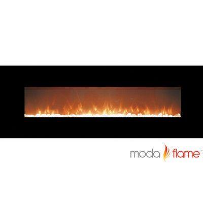 Slimline Electric Fireplace Luxury Moda Flame Skyline Crystal Linear Wall Mounted Electric