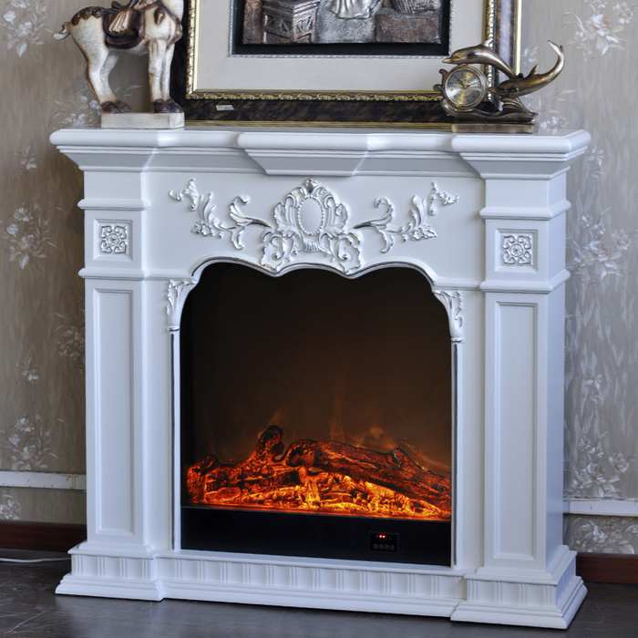 white fireplace electric