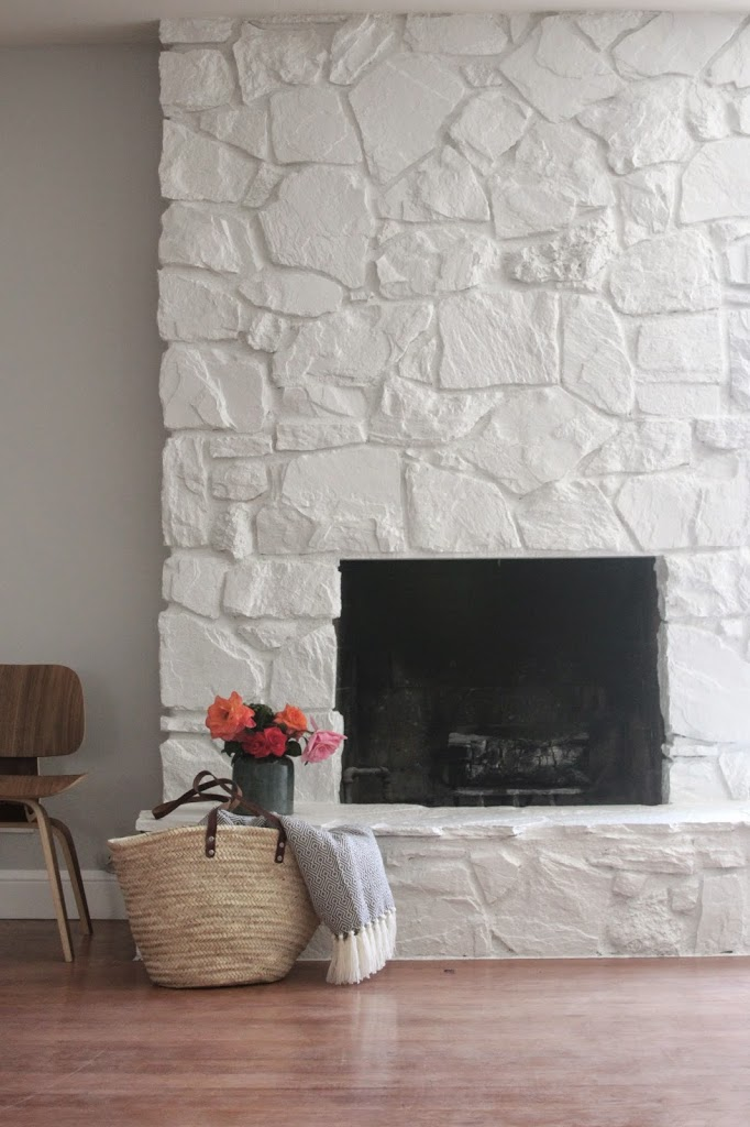 after renovation stone fireplace