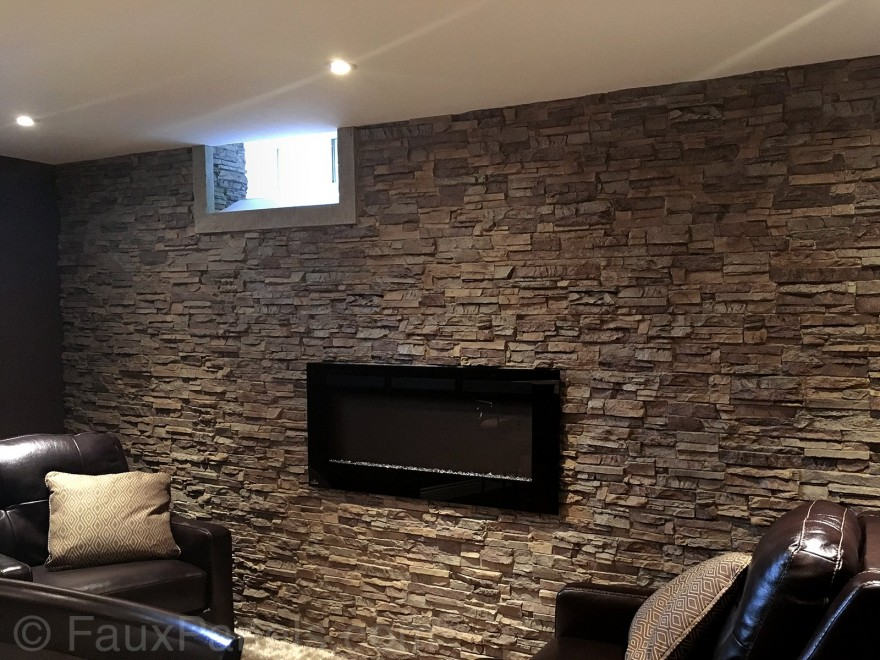finished basement with square window and recessed lighting also stone fireplace ideas plus brown back leather recliners covering brick fireplace with stone veneer stacked stone fireplace surround cos 880x660