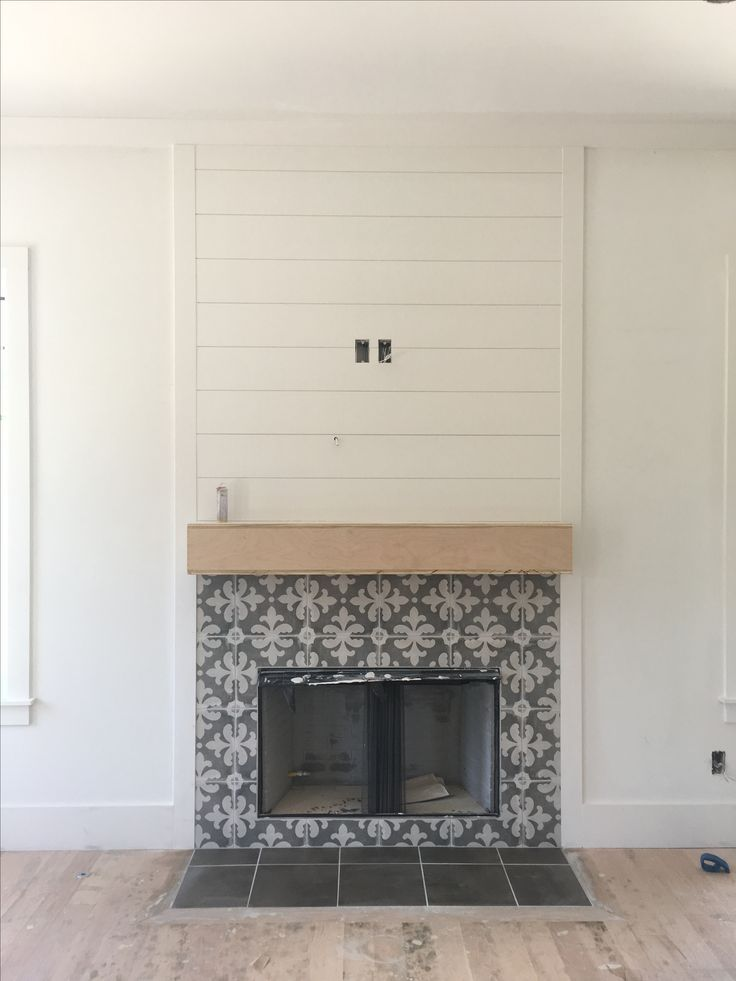 Tile Fireplace Surround Inspirational Cement Tile Fireplace Surround with Shiplap Fireplace