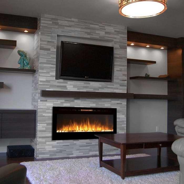 flat electric fireplace