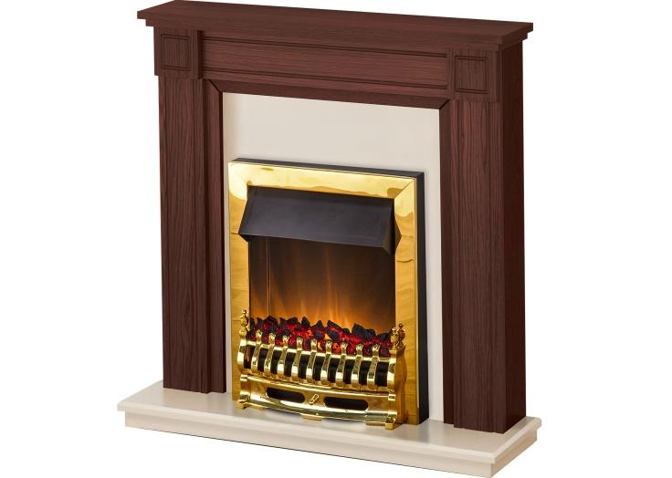 adam georgian fireplace suite in mahogany with blenheim electric fire in brass 39 inch