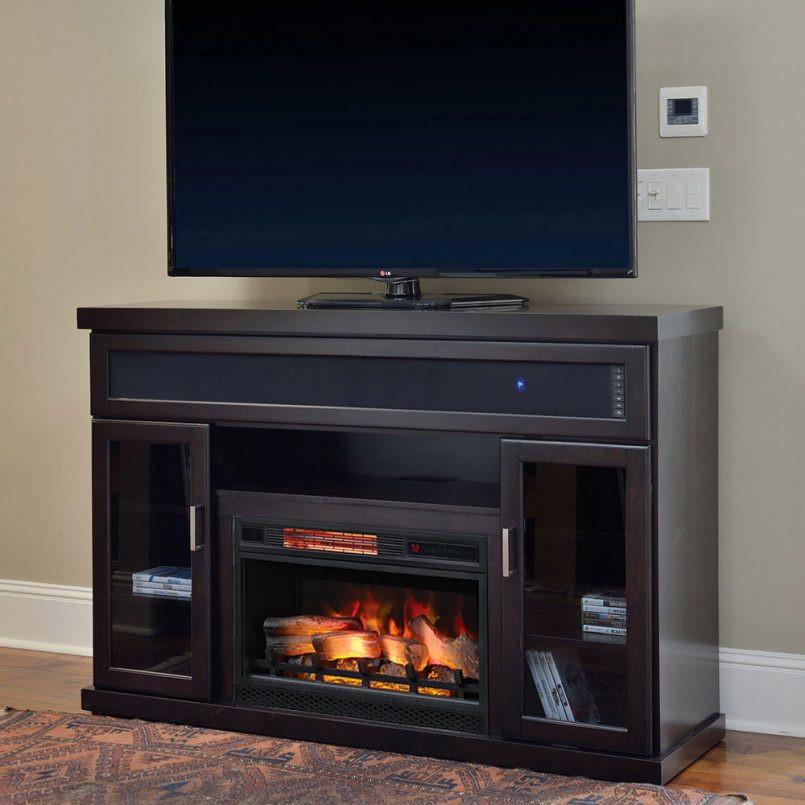 entertainment center with fireplace lowes and soundbar 805x805