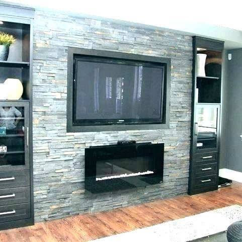 fireplace tv wall mount over stone