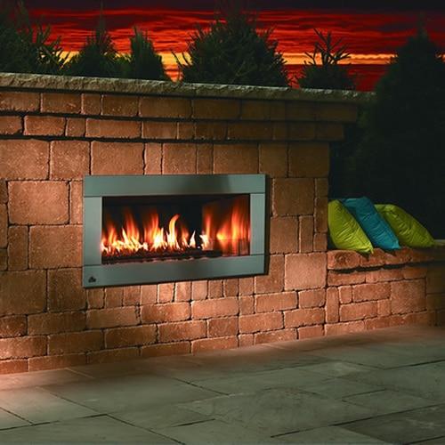 firegear outdoor linear fireplace with 4 faceplate od42 4 n 30