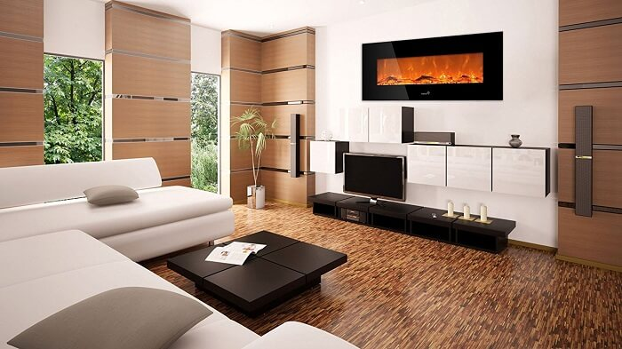 Ivation 50 Wall Mounted Glass Electric Fireplace