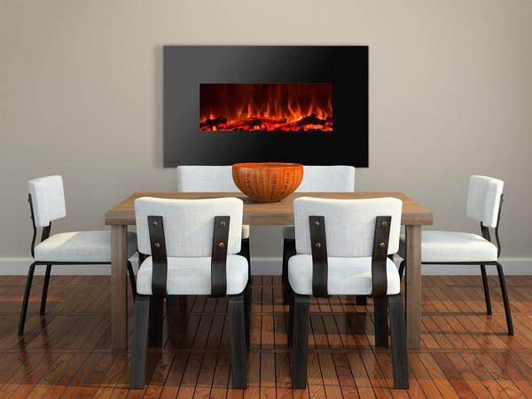 50 inch Wall Mounted Electric Fireplace with Logs Staged grande