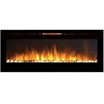 "Wall Mounted Fireplace Heater Luxury Regal Flame astoria 60"" Pebble Built In Ventless Recessed Wall Mounted Electric Fireplace Better Than Wood Fireplaces Gas Logs Inserts Log Sets"