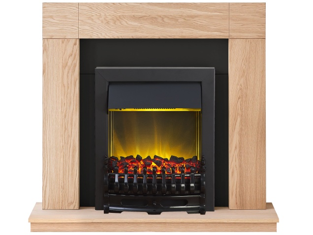 adam malmo fireplace suite in oak with blenheim electric fire in black 39 inch