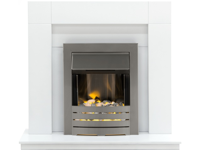 adam malmo fireplace suite in pure white with helios electric fire in brushed steel 39 inch