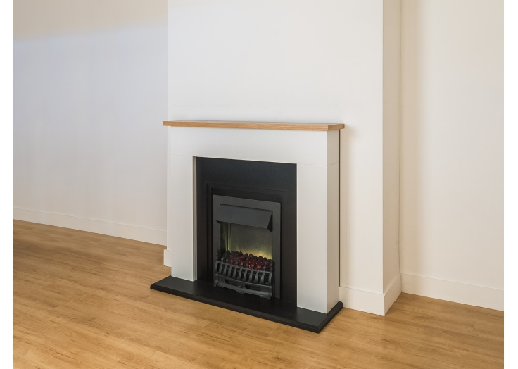 adam innsbruck fireplace suite in pure white with blenheim electric fire in black 48 inch