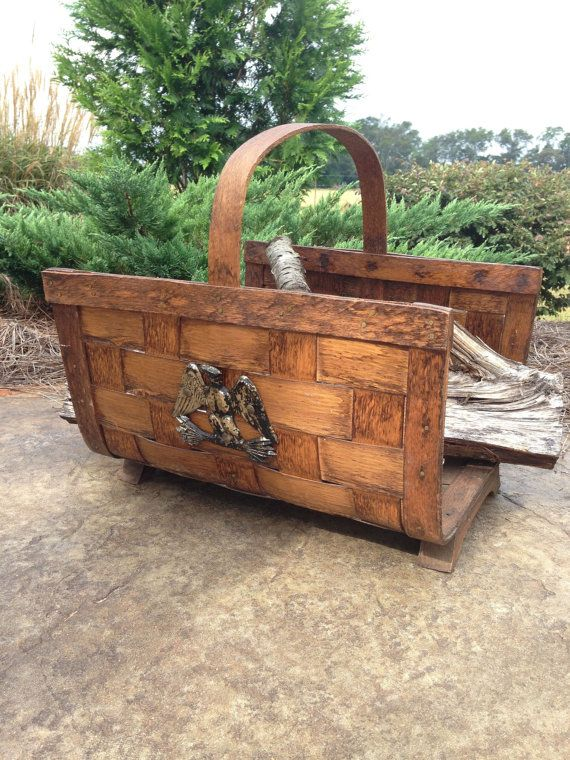 Wood Carriers for Fireplace Awesome Vintage Firewood Holder Dark Brown Woven Wood Basket Eagle