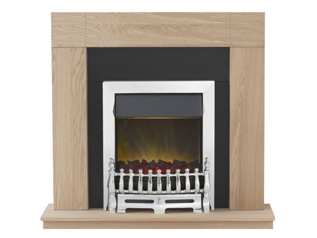 adam malmo fireplace suite in oak with blenheim electric fire in chrome 39 inch