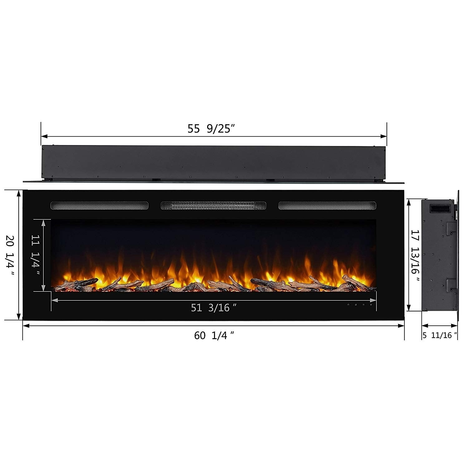 60 Alice In Wall Recessed Electric Fireplace 1500W Black 667c3b68 34f7 431a 8309 db7c615cc93a