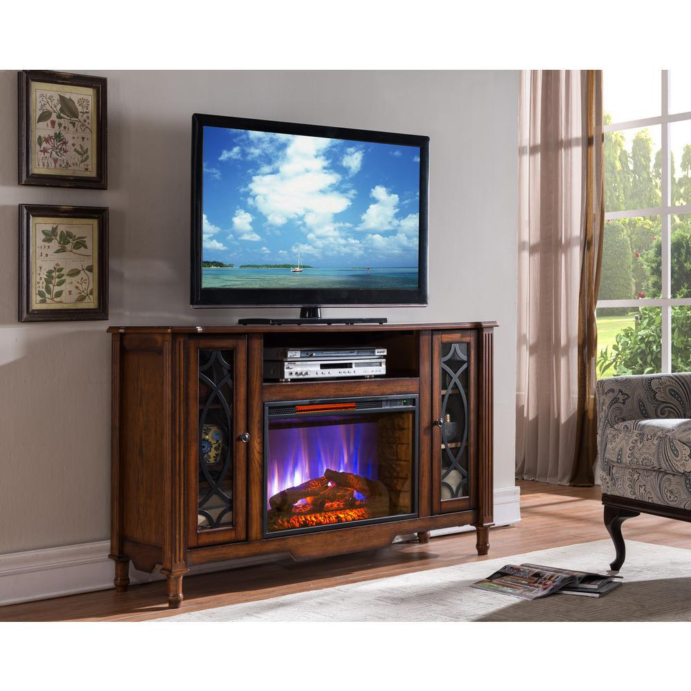 brown oak fireplace tv stands sp5664 64 1000