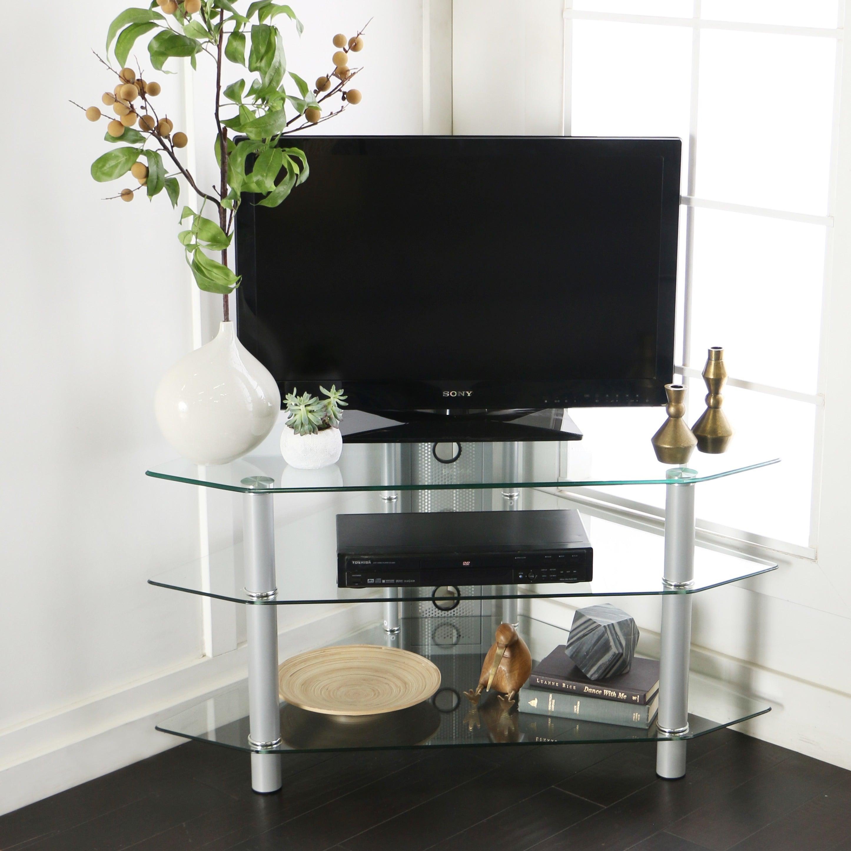 Glass Metal 44 inch Corner TV Stand 796d7204 b4af 42ed 962d 1dd315b640ab