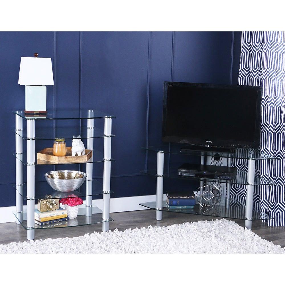 Glass Metal 44 inch Corner TV Stand f88cf5be 1f0d 4d9a 9b13 bc4e0d5