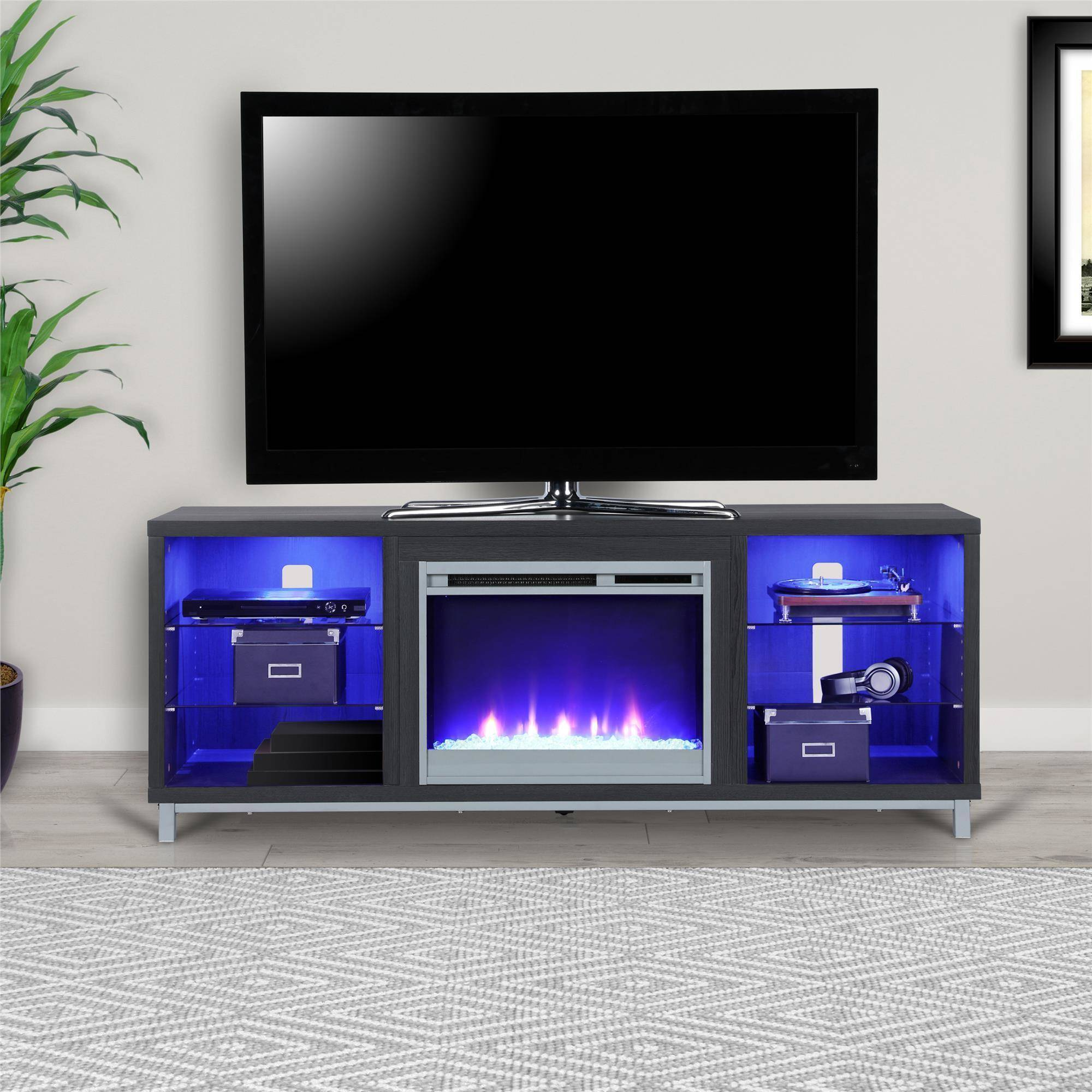 "65 Inch Electric Fireplace Elegant Ameriwood Home Lumina Fireplace Tv Stand for Tvs Up to 70"" Wide Black Oak Walmart"