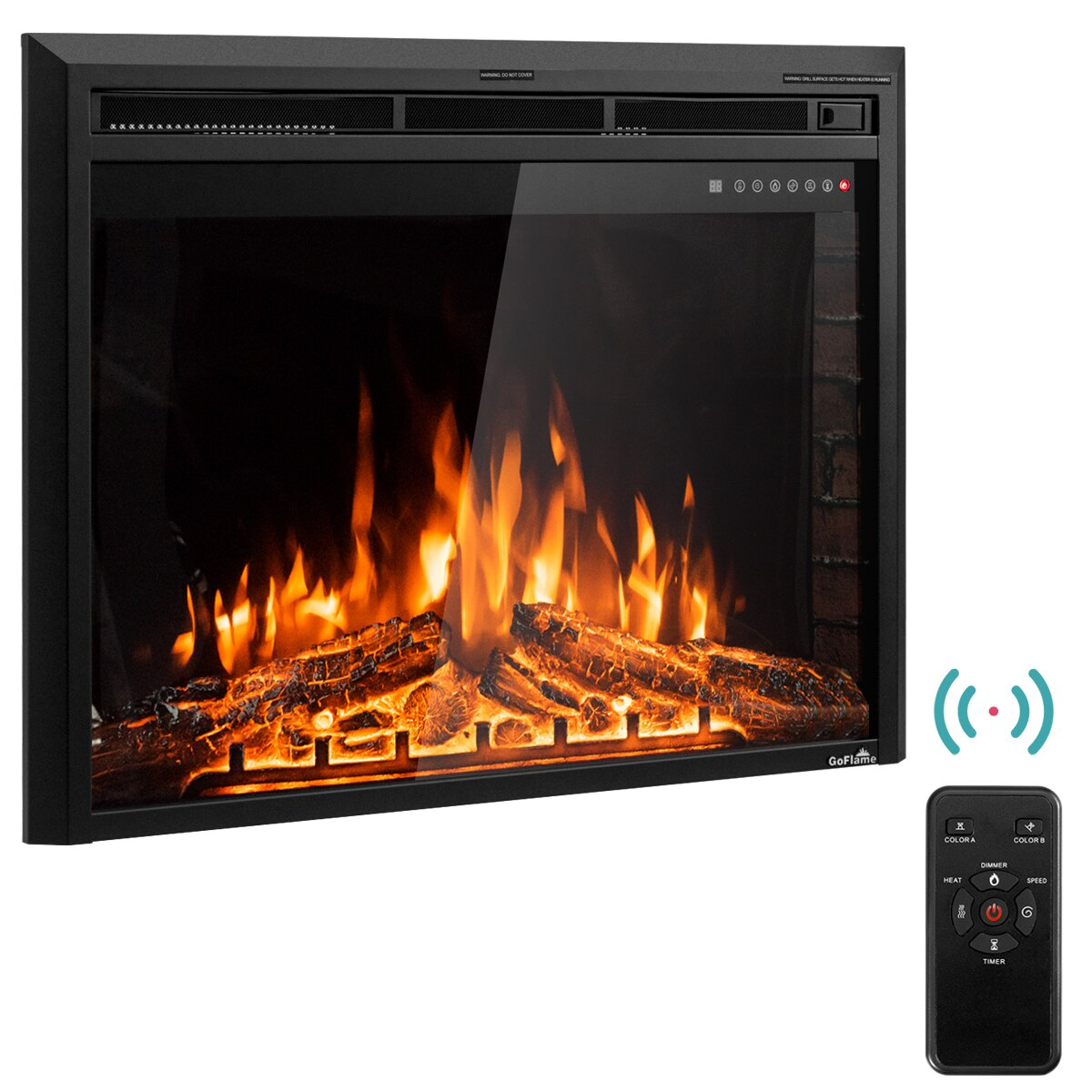 65 Inch Electric Fireplace New Goflame 36 750w 1500w Fireplace Heater Electric Embedded Insert Timer Flame Remote