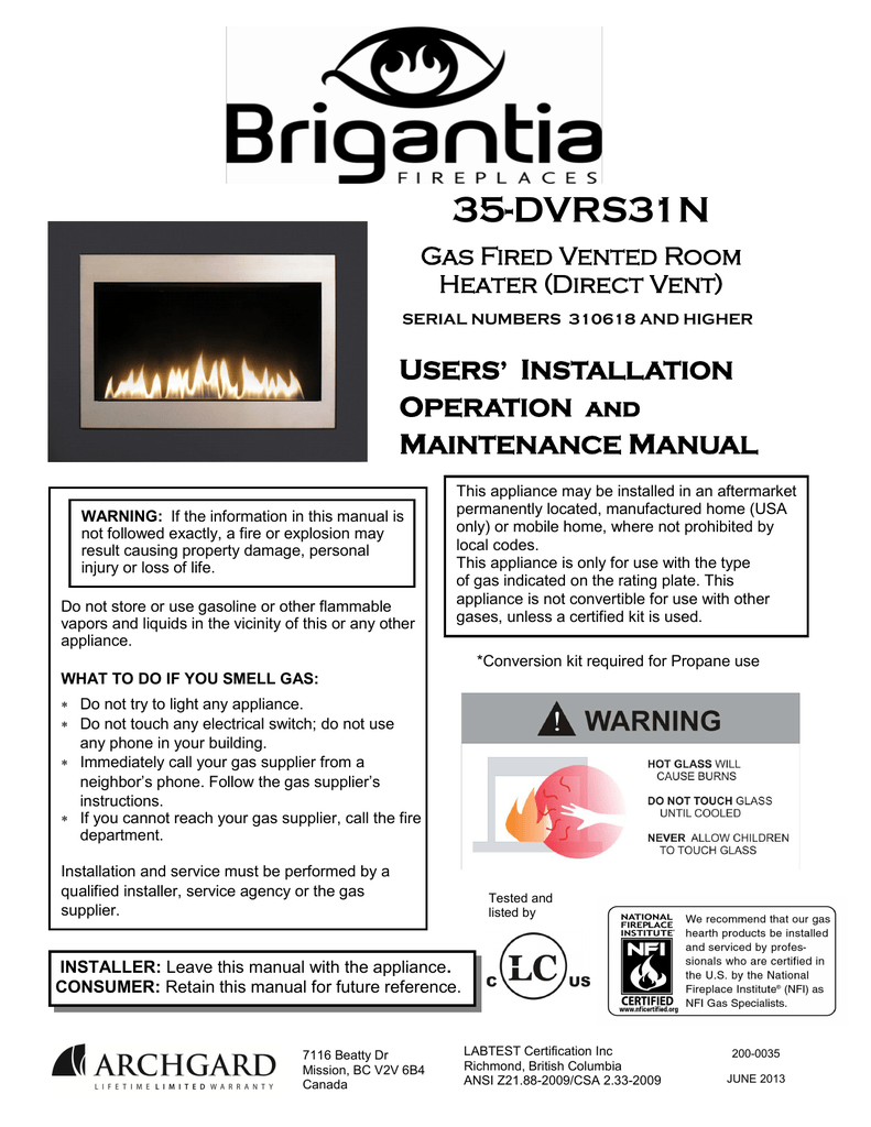 Archgard Fireplaces Awesome Brigantia 35 Dvrs31n Specifications