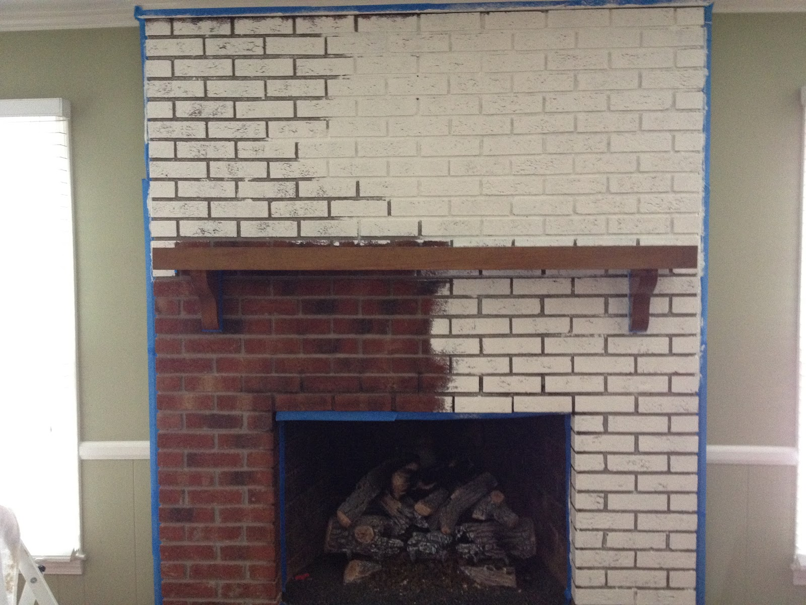 Painted Brick Fireplace Red