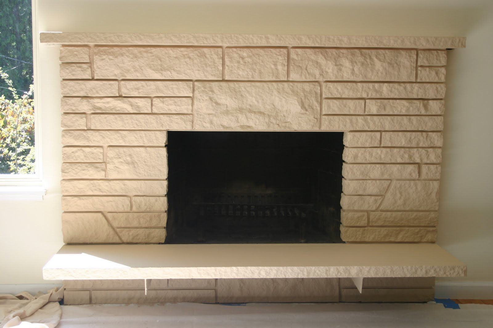 Painted Brick Fireplace Stone