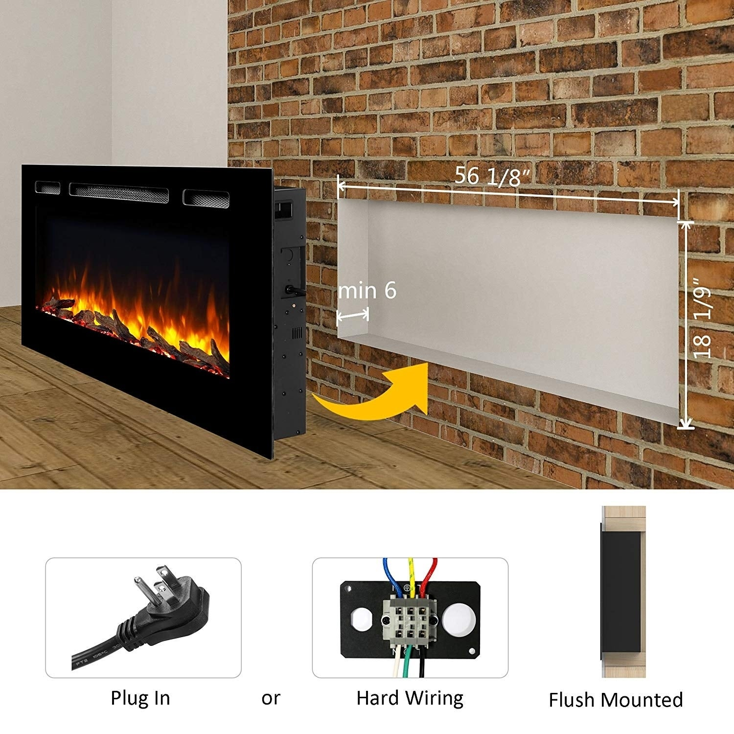 "Best Recessed Electric Fireplace Beautiful 60"" Alice In Wall Recessed Electric Fireplace 1500w Black"