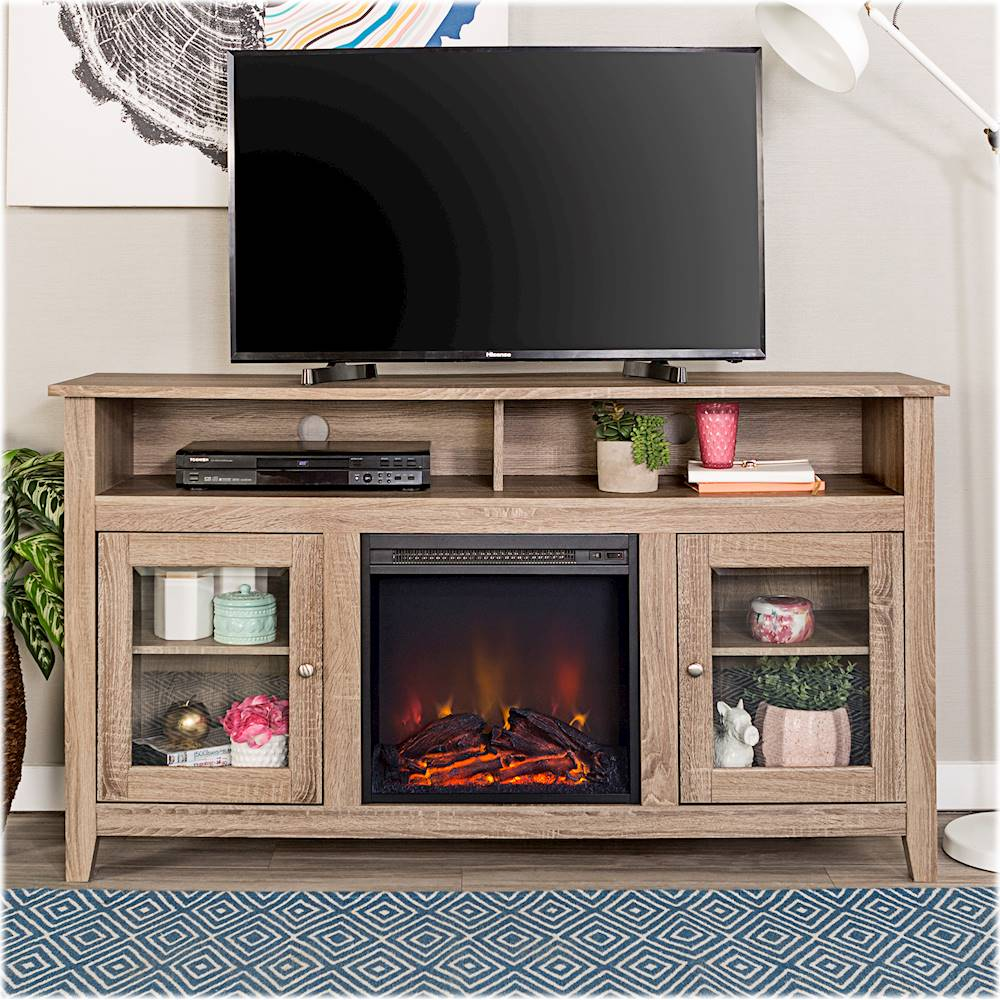 """Big Lots Fireplaces Clearance Lovely Walker Edison Freestanding Fireplace Cabinet Tv Stand for Most Flat Panel Tvs Up to 65"""" Driftwood"""